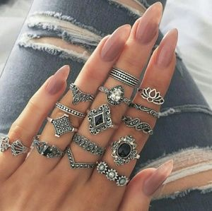 15 Ring Set, Vintage Look, Wear Them All!